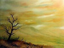 ART PRINT POSTER PAINTING LANDSCAPE SOLITARY TREE SILHOUETTE HAZY VIEW LFMP1137