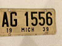 1939 Michigan license plate-AG 1556