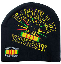 Vietnam Veteran Embroidered Knit Steep Beanie Skull Cap Stocking Hat