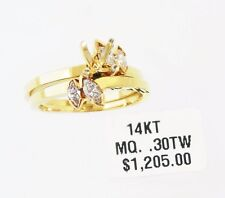 14KT YELLOW GOLD ENGAGEMENT AND WEDDING SET SEMI-MOUNT WITH DIAMONDS (27017R)