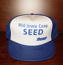 Mid Iowa Coop Seed Pursuit Adjust Snap Back Ad. Hat Trucker Farmer Baseball NWOT