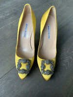 Manolo Blahnik Hangisi 105 Satin Yellow Heels 39 Authentic Display Item