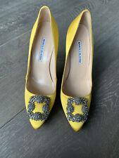 Manolo Blahnik Hangisi 105 Satin Yellow Heels 39 Authentic Display Item