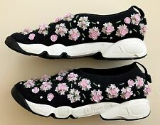 DIOR Fusion Black/Pink/green Embroidered Flower White sole Trainer Sneaker IT37