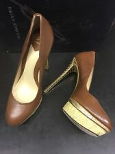 B by Brian Atwood Fontanne Mixed-Media Platform Pump, Brown Size 37/7