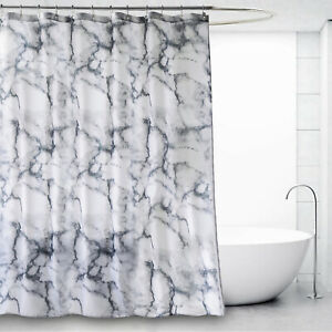 Waterproof Marble Effect Grey Extra Long Wide Shower Curtains W 12 Steel Hooks
