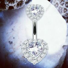 LEIA Heart Belly Bars Crystal Belly Button Bar Silver Cute Navel Ring Piercing