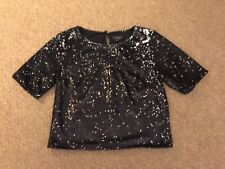 Black Ladies Topshop Short Sleeved Sequin Shimmery Cropped Top, UK Size 8