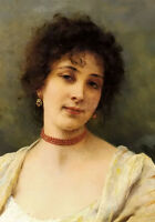 Oil painting elegant lady young female portrait with nice necklace Hand painted