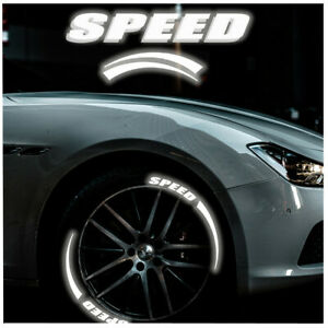 Car Tyre Stickers 8 Sets Speed+Blade Reflective Letters Graphics Decals 15-22in