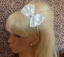 NEW IVORY SATIN BOW FAUX PEARL ALICE HAIR HEAD BAND SIDE BOW VINTAGE GLAMOUR
