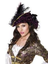 Ladies Deluxe Velvet Sexy Buccaneer Pirate Captain Fancy Dress Hat + Feather