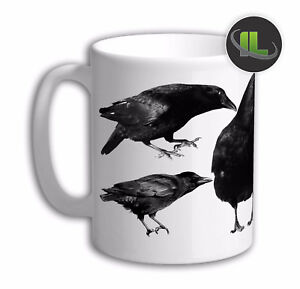 Personalised Raven Mug Crow Mug cup. Customise with your own text. FOC. IL6122