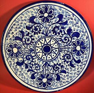 "MEXICAN POTTERY WALL ART FLOW BLUE COBALT BLUE HAND CRAFTED LARGE 14"" VINTAGE"