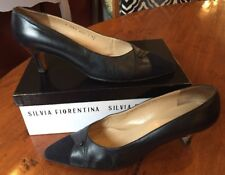 Silvia Fiorentina Delfi Navy Leather & Suede Heels Size 9 1/2 M