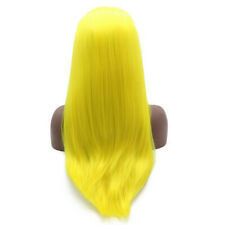 "20"" Synthetic Fiber Hair Straight Neon Yellow Lace Front Wig Handtied Full Wigs"