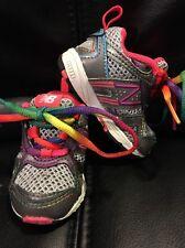 New Balance Gray Silver Rainbow Infant Shoe Size 2 Flex Running Sneaker