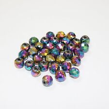30 Rainbow Plated Haematite Faceted Round Beads size 8mm