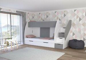 Hochbett Martin Modern Kinderzimmer Etagenbett Doppel Stockbett mit Bettkasten