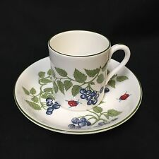Crown Staffordshire Demitasse Cup Saucer Set Blueberries Ladybug Bone China VTG