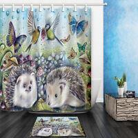 The Hedgehog Theme Waterproof Fabric Home Decor Shower Curtain Bathroom Mat