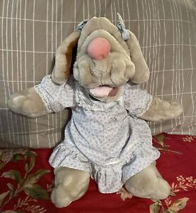 "Vintage 1981 Ganz Bros Wrinkles Plush Hound Dog Hand Puppet 18"" Girl w/ Clothes"
