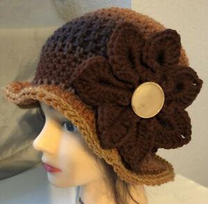Dark Browns    SPRING  WINTER  CLOCHE BEANIE CAP FLAPPER HAT  HAND CROCHET new
