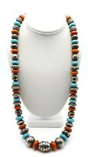 """New listing Navajo Sterling Silver / Turquoise / Coral 26"""" Necklace"""