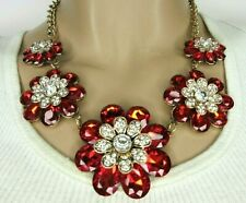 Blinding Crystal & Red Facet Glass Flower Necklace!