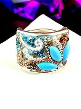 SOLD OUT ISRAELI DESIGNER ORIT SCHATZMAN STERLING TURQUOISE SKY EARTH WIDE RING