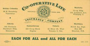 "Co-operative Life Insurance Company BLOTTER 6"" Regina Saskatchewan Canada Farmer"