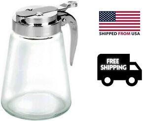 12 Oz Glass Syrup Dispenser Honey Maple Jar Dressing Creamer Sugar Clear Glass