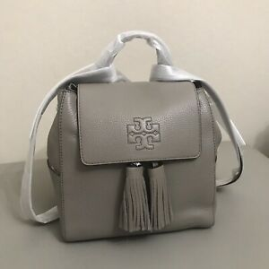 NWT TORY BURCH 73134 Thea Mini Pebbled Leather Tassel Backpack Gray MSRP $450