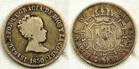 Spain-Isabe II. 2 reales. 1850. RD. Sevilla. Plata 2,4 g. Bonita
