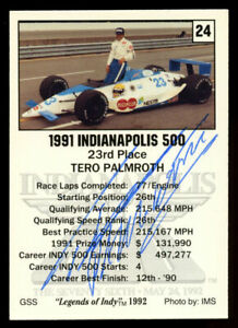 Tero Palmroth #24 signed autograph auto 1992 Legend of Indy Trading Card