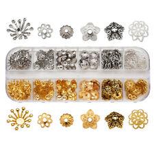 300pcs/Box Metal Flower Bead Caps Silver & Gold More-Petal Loose Spacers 5~14mm