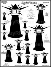 15 Light House Decal Stickers. Outdoor 1 to 5 Inch. Laminated for Durability