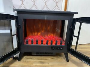 Panoramic Log Effect Electric Fireplace Stove Fire Flame Thermal Heater 2KW Wood