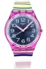 New Swatch Originals FUNNY LINES Multi-Color Silicone Women Watch 34mm GP153 $70