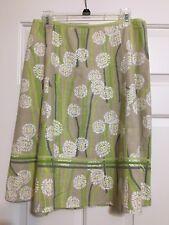 Sigrid Olsen size 8 beige green yellow floral A-line skirt women's