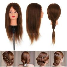100% Real Human Hair Hairdressing Training Head Cosmetology Mannequin Salon I3H7