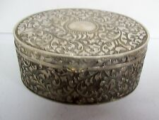 Vintage Embossed Silver Plated Large Jewelry Trinket Box -  Red Lining