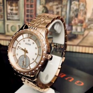 AUTHENTIC GUESS LADIES' WHITNEY WATCH ROSE GOLD TONE RRP:$449 0931L3 Brand New