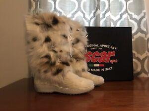 Oscar Julia Sport Boots with white fur Size 38 EUR 7.5 US