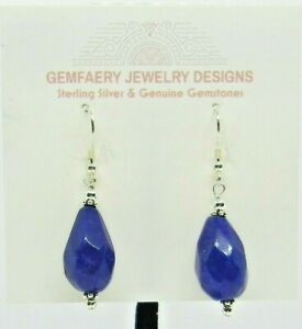 Sterling Silver Faceted Natural SAPPHIRE Gemstone Earrings #8244...Handmade USA
