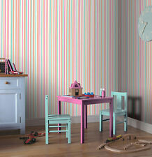 PASTEL SPARKLE STRIPES PINK WHITE TEAL NOVELTY QUALITY ARTHOUSE WALLPAPER 668800