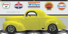 1941 WILLYS COUPE YELLOW HOT ROD GARAGE SCENE BANNER SIGN SHOP ART MURAL 2' X 4'