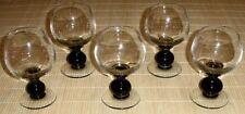 5 Weingläser FRIEDRICH KRISTALL - Stiel grüne Kugel mundgeblasen 60er 70er Jahre