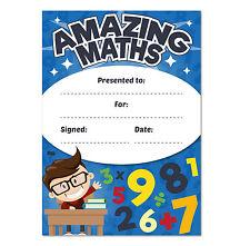 A6 Amazing Maths Reward Certificates, Children, Kids, Teachers, Award, Fun