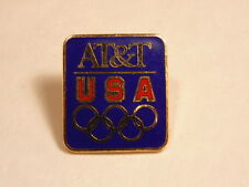 Rectangular  Gold and Red on Blue field; AT&T Olympics sponsorship pin